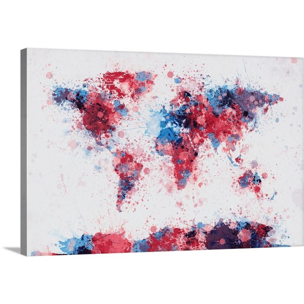 "GreatBigCanvas ""World Map Paint Splashes, Red and Blue"" by Michael Tompsett Canvas Wall Art 2075543_24_30x20 - The Home Depot"