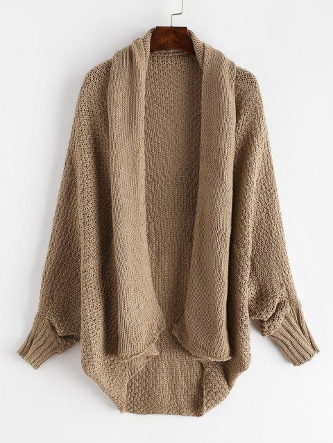 Dolman Sleeves Solid Open Knit Cardigan