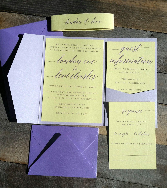 Purple Wedding Invitation, Wedding Invitation, Pocketfold Invitation ...