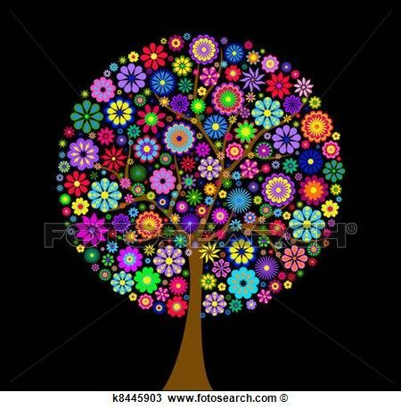 Clipart - colorful flower tree on black background. Fotosearch - Search Clip Art, Illustration