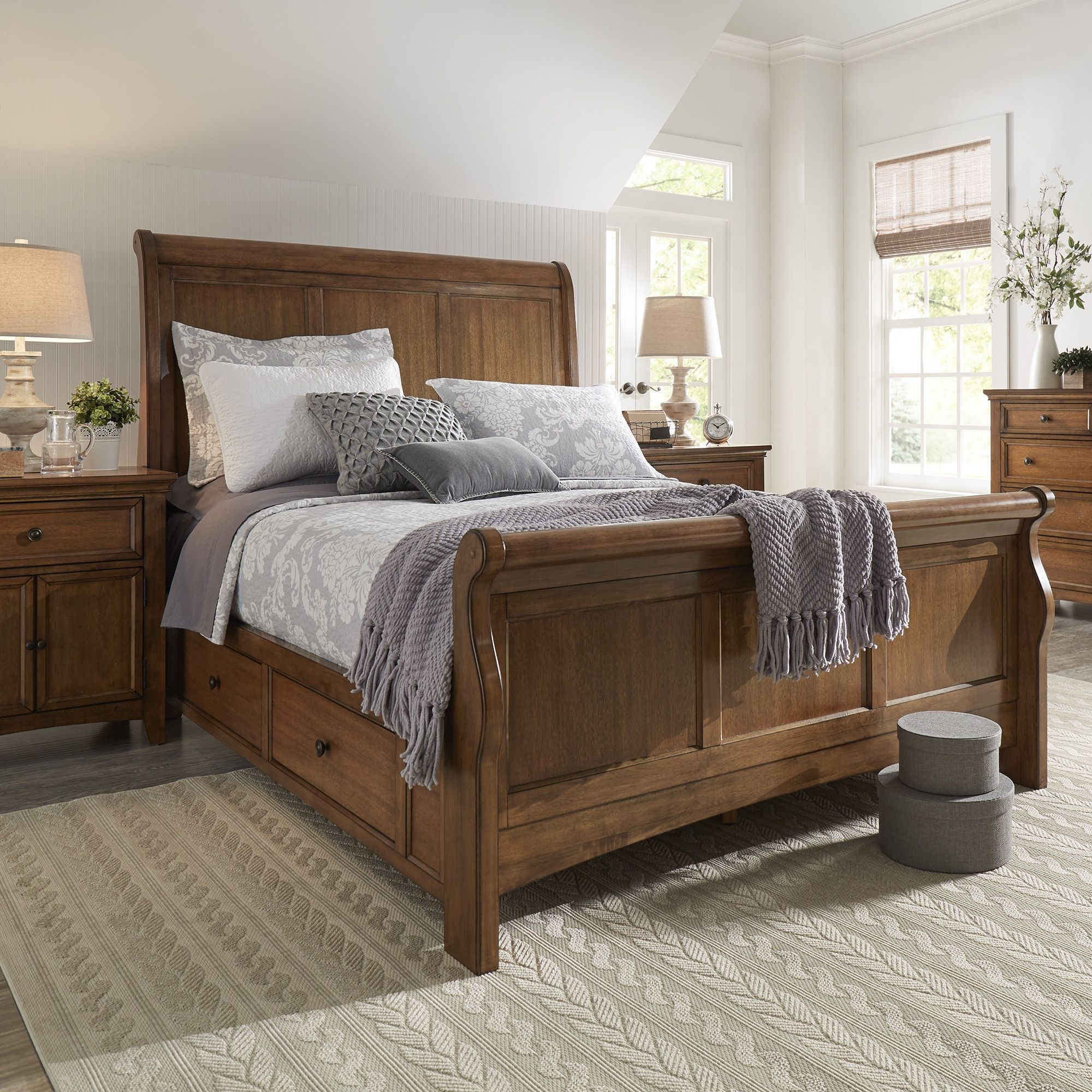Ediline Queen Size Oak Finish Wood Storage Sleigh Bed by