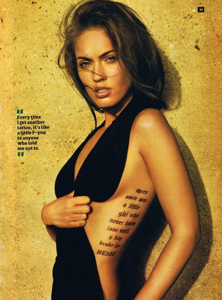 93ba3f12a megan fox, tattoo quote | Tattoo Ideas | Megan fox tattoo, Fox ...