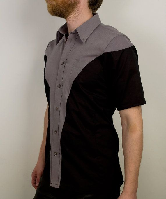 56f18b5ba41 Futuristic cyberpunk dress shirt with geometric by PopLoveHis ...