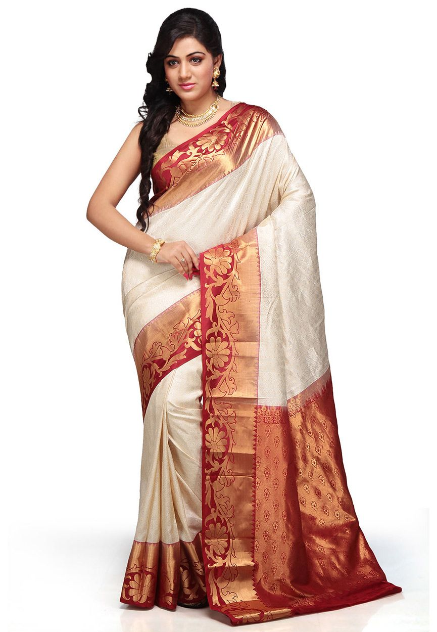 c82187cf18 Off White and Maroon Pure Kanchipuram Handloom Silk Saree with Blouse:  SAHA47