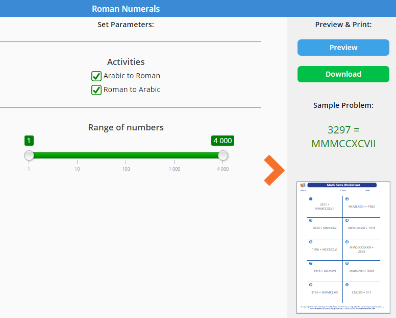 New Math Generator Topic About Roman Numerals Is Now Available For