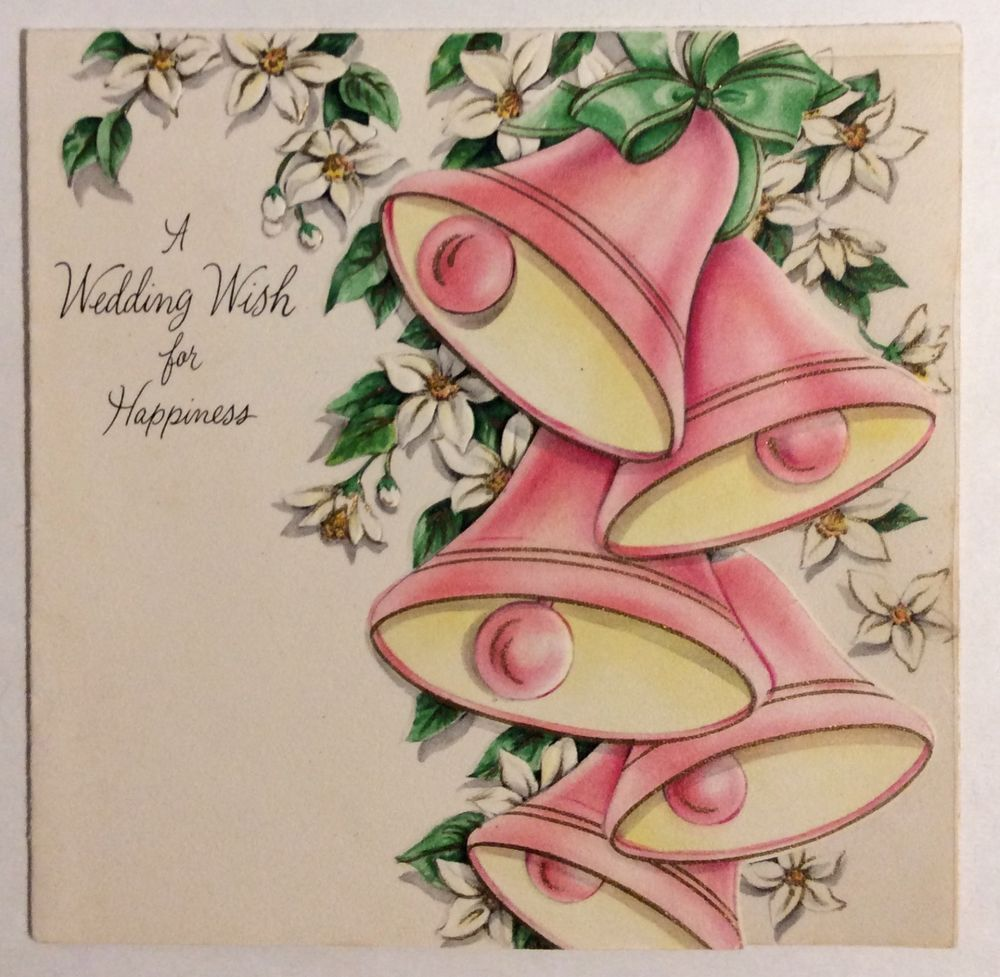 Beautiful Pink Wedding Bells Embossed 1940s Vintage Wedding