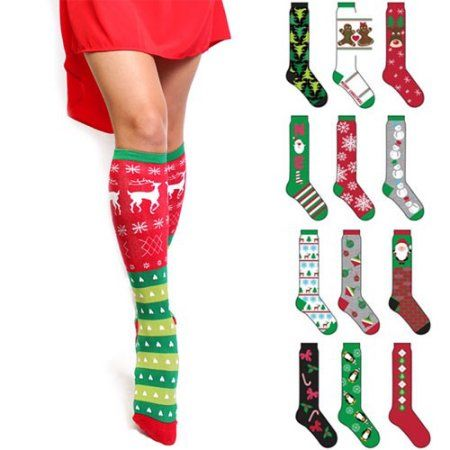6 pairs knee high christmas socks festive and fun walmartcom - Walmart Christmas Socks
