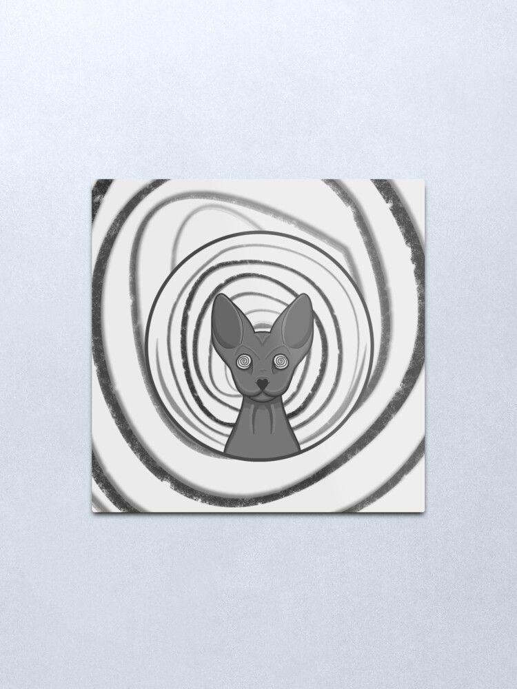 Black and white, protective and cute hypnotic cat design. #metalprint #homedecor #catmetalprint #kittymetalprint #kittenmetalprint #findyourthing