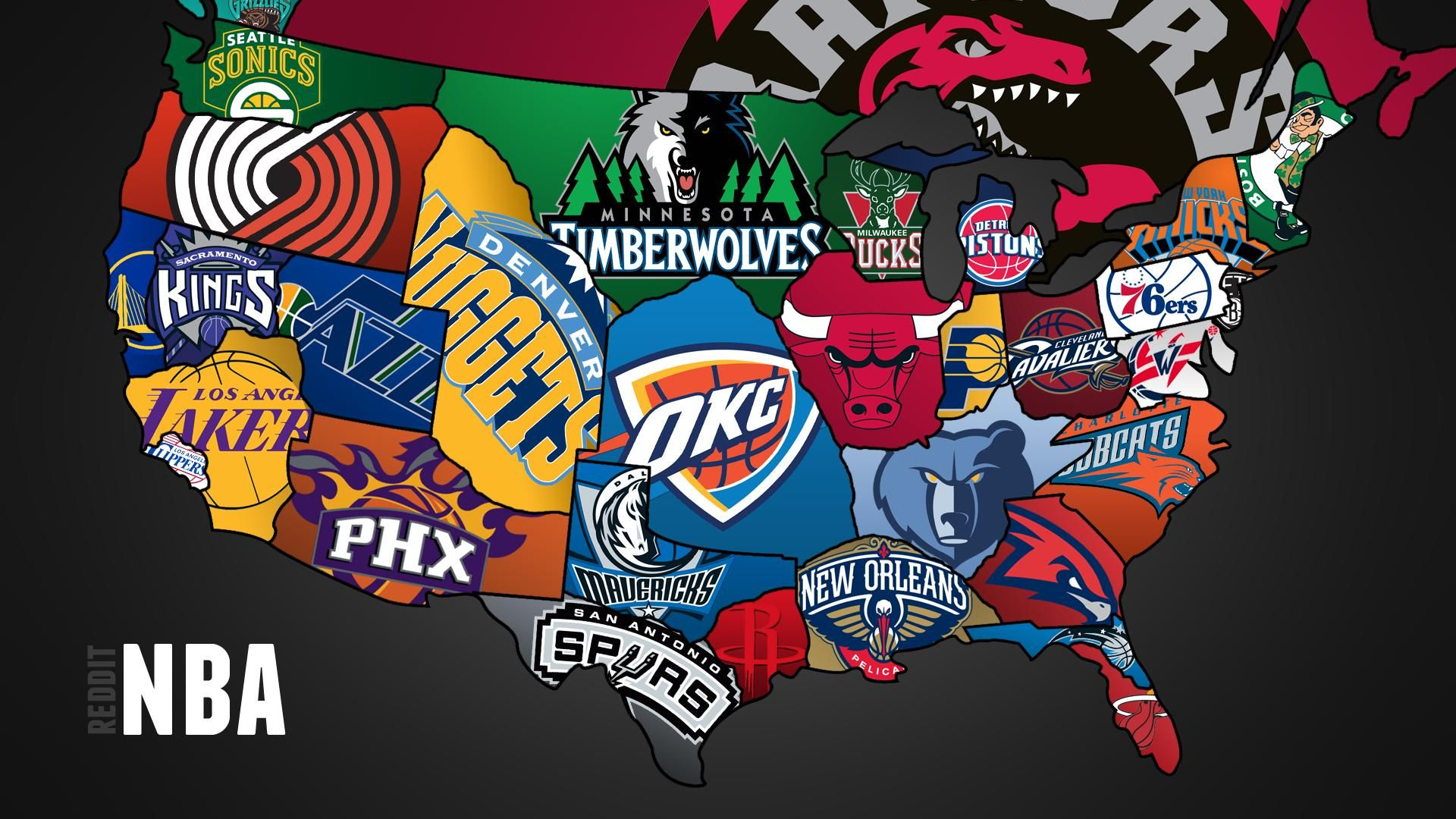 2012-13 NBA Teams Map (now with 100% more Canada ...