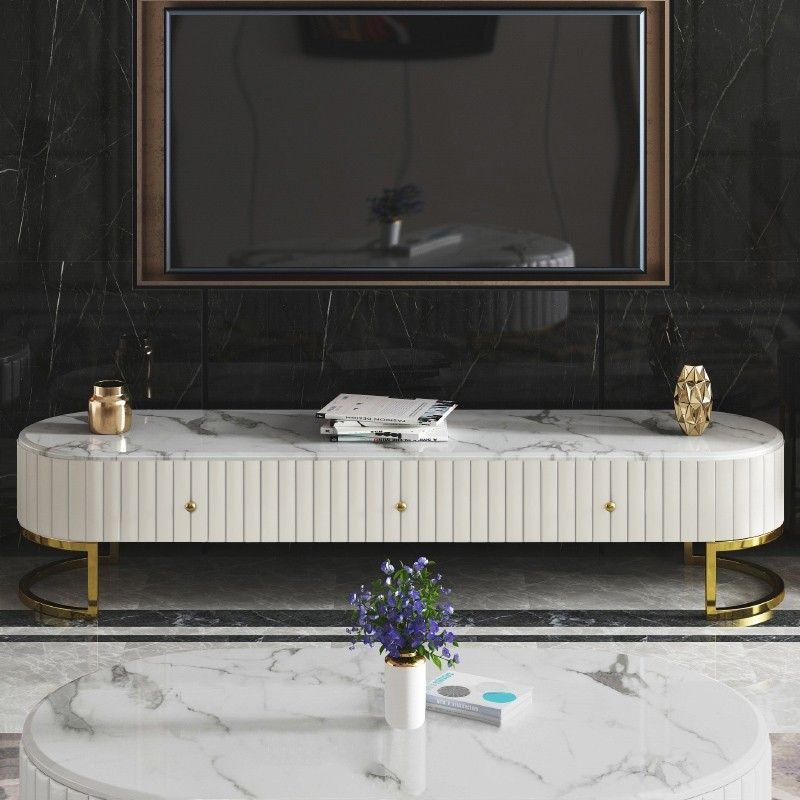 Modern Oval 71 Tv Stand Faux Marble Top Media Stand With 3 Drawers In White Furniture Design Modern Marble Table Top Tv Stand Marble top tv stand