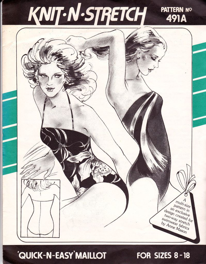 1970s strapless maillot swimsuit pattern Knit N Stretch 491 A Size 8 - 18 UNCUT