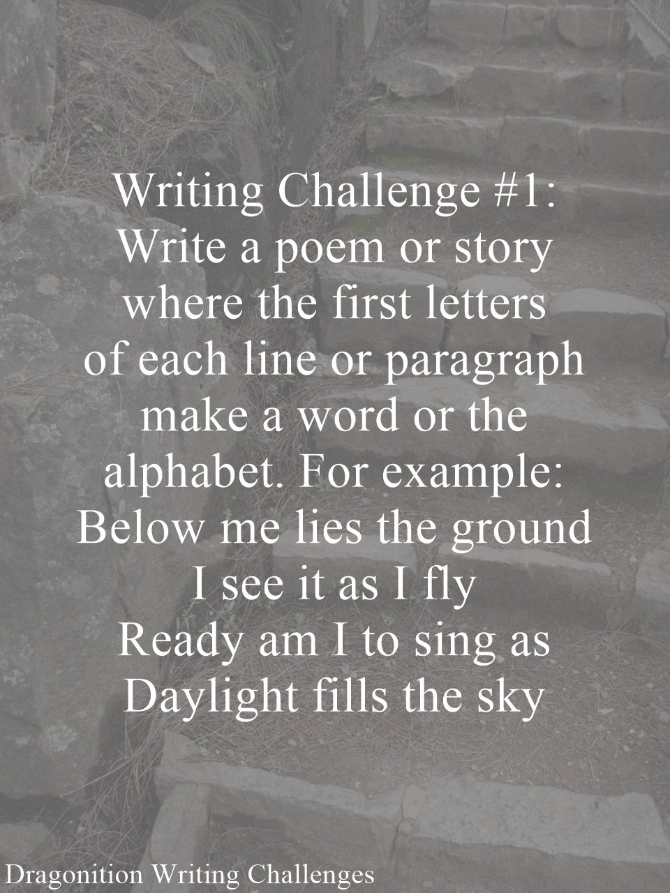 Writing Challenge 1 Inspiratie