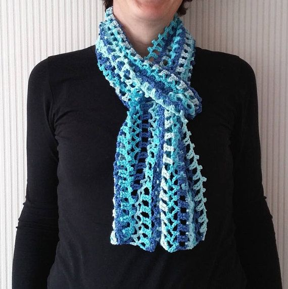 Crochet Summer Scarf Pattern Little Blue Summer Scarf Colorful