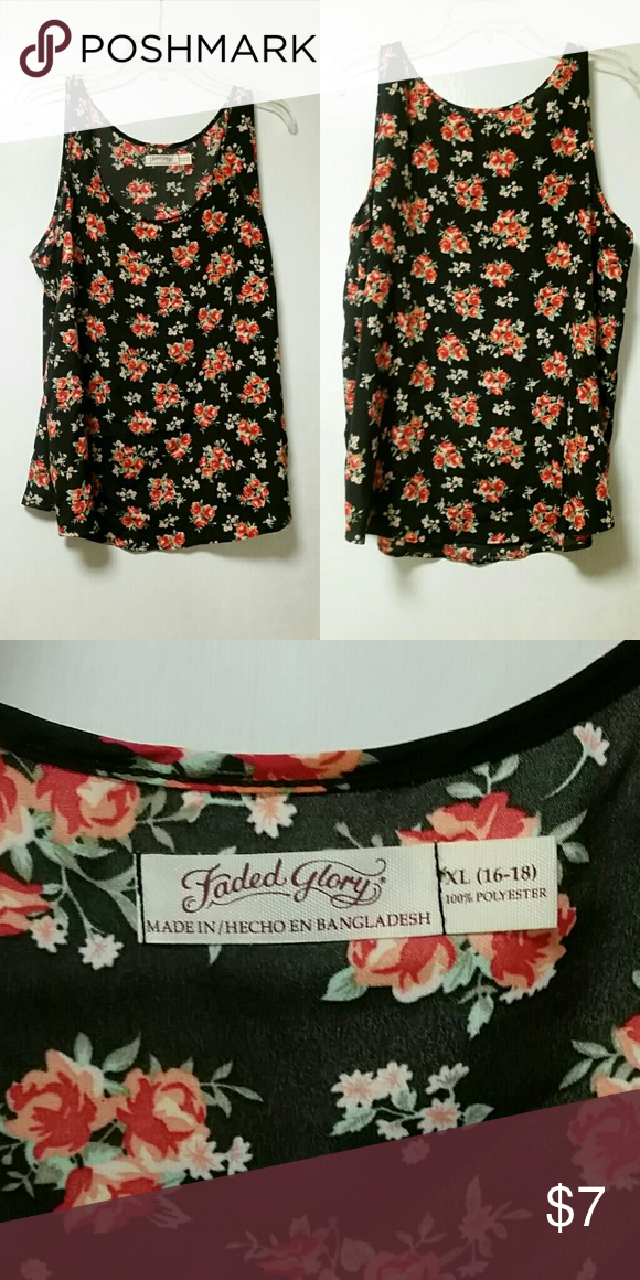 a8dcd100d6dd26 Faded Glory floral tank top Black and red floral tank top