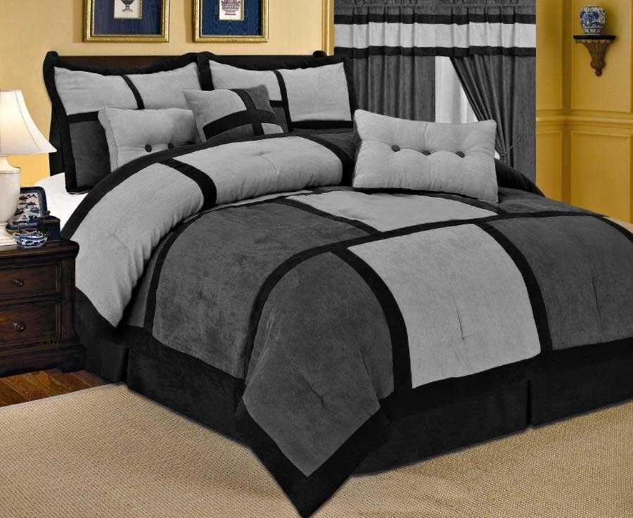 Grey comforter sets queen size comforters 21 piece comforter curtain gray sheet set Queen size bed and mattress set