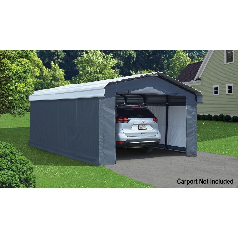 Arrow 12 Ft W X 20 Ft D Enclosure Kit For Carport With Convenient Drive Through Access And Heat Sealed Seams 10181 The H Carport Carport Kits Carport Patio