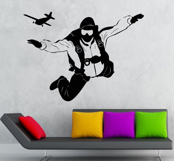 SKYDIVER PARACHUTE JUMP Vinyl wall art sticker room decal