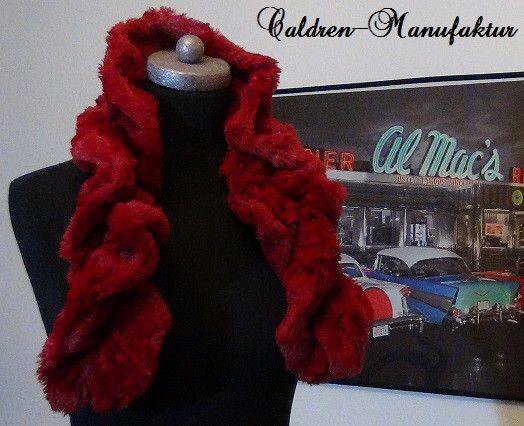 Teddyfell Kunstfell Kunstpelz Vintage Schal ROT von Caldren-Manufaktur auf DaWanda.com