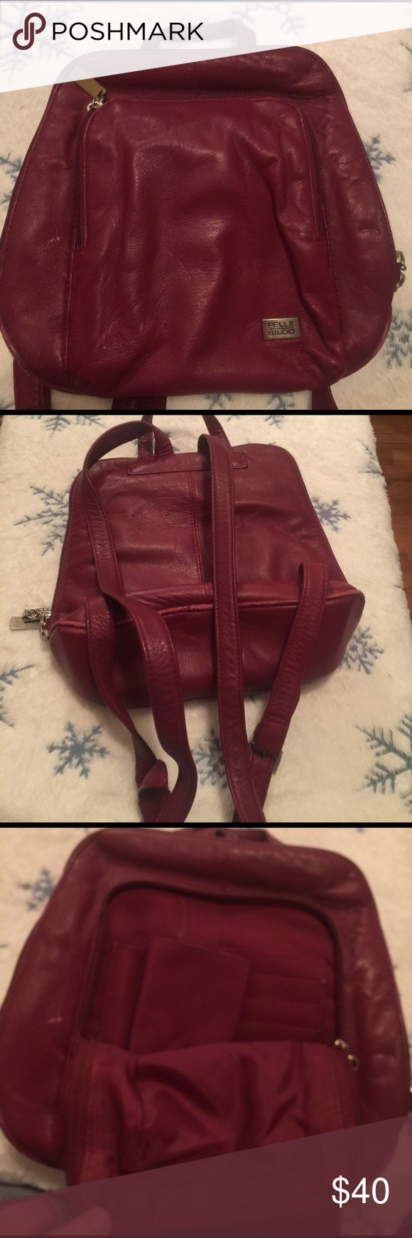 Wilsons leather pelle studio red purse Has some wear on