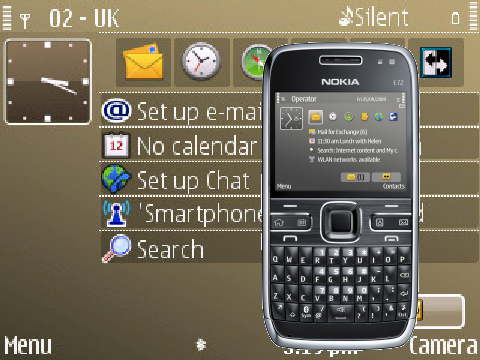 Swf Neon Clock Theme for Nokia E72 Free Download in Themes