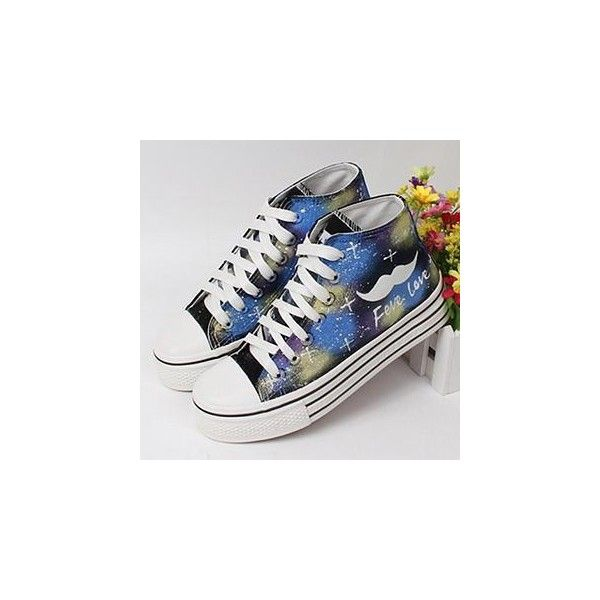 Painted Moustache Canvas Sneakers ($36) ❤ liked on Polyvore featuring shoes, sneakers, footware, fleece-lined shoes, clear sneakers, mid heel shoes, black mid heel shoes and clear shoes