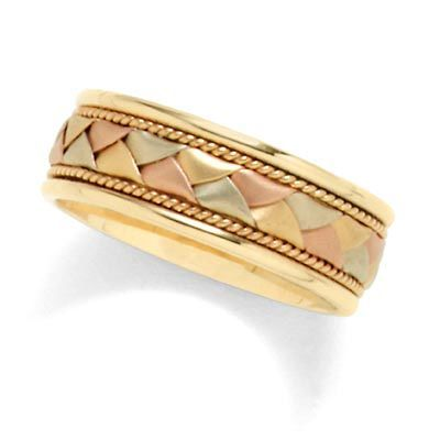 Men S 14k Tri Color Gold Woven Wedding Band View All Rings Zales