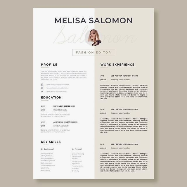 Creative And Professional Resume Template In Microsoft Word Cv With Modern And Clean Design Day 59 Re Modele De Cv Creatif Modele De Cv Design Mise En Page Cv