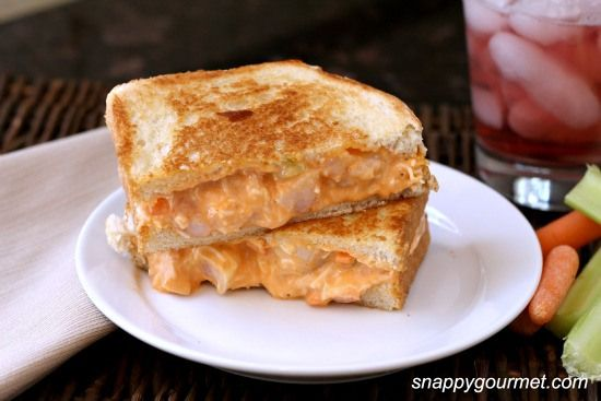 Buffalo Shrimp Grilled #Cheese. Add this ooey-gooey sandwich to your lunchtime line-up! #buffaloshrimp