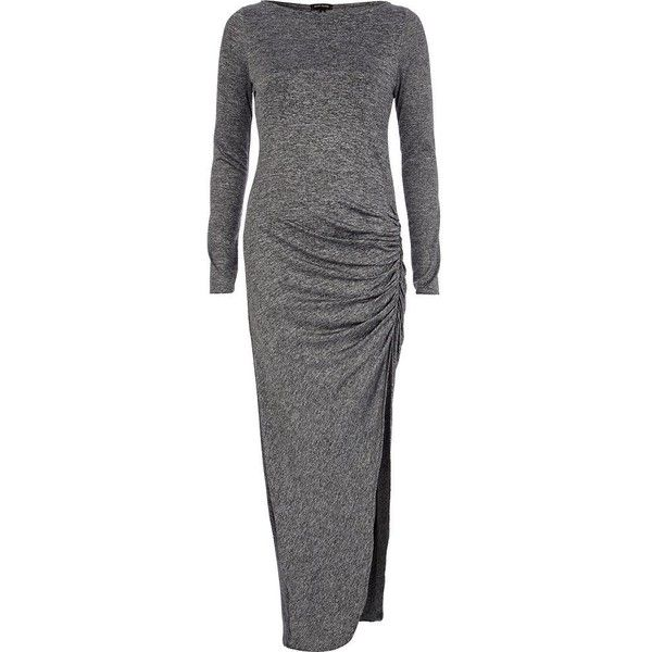 River Island Grey Marl Ruched Asymmetric Maxi Dress ($63) ❤ liked on Polyvore