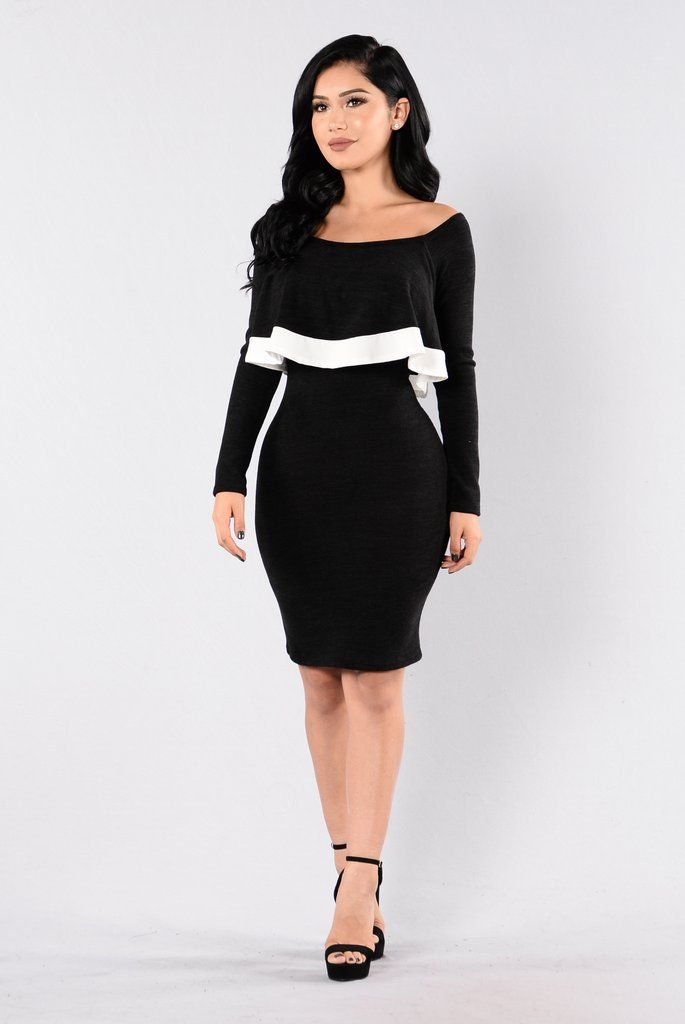 64a0c6f1d591 Available in Black - Off Shoulder Dress - Fuzzy Material - Long Sleeve -  White Trim - Ruffle Overlay - Knee Length - Made in USA - 96% Polyester 4%  Spandex