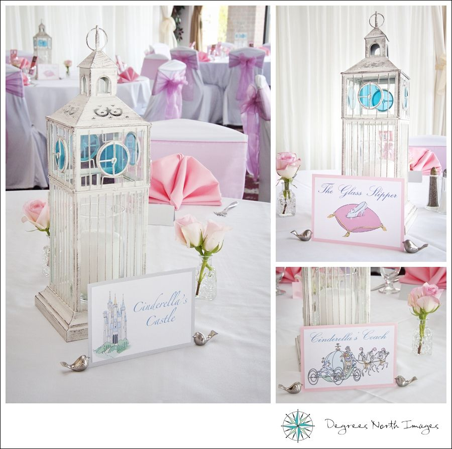 Cinderella centerpieces and table names. Glass slipper table, clock ...