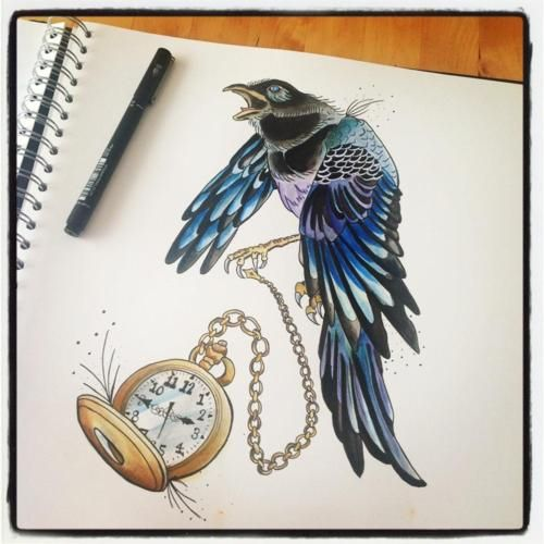 Magpie with pocket watch