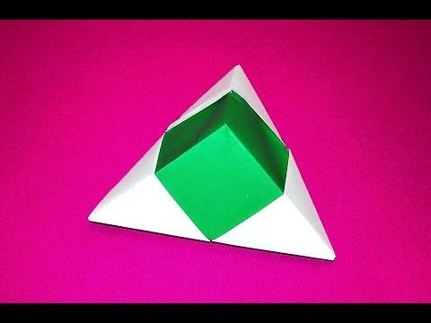 Origami pyramid box - one piece of paper. Valentine's gift box. Easy gift box…