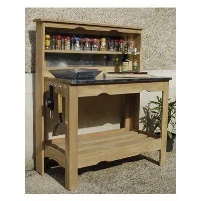 photo meubles cuisine salle de bain table plancha en bois et zinc 102x120x50cm bois et. Black Bedroom Furniture Sets. Home Design Ideas
