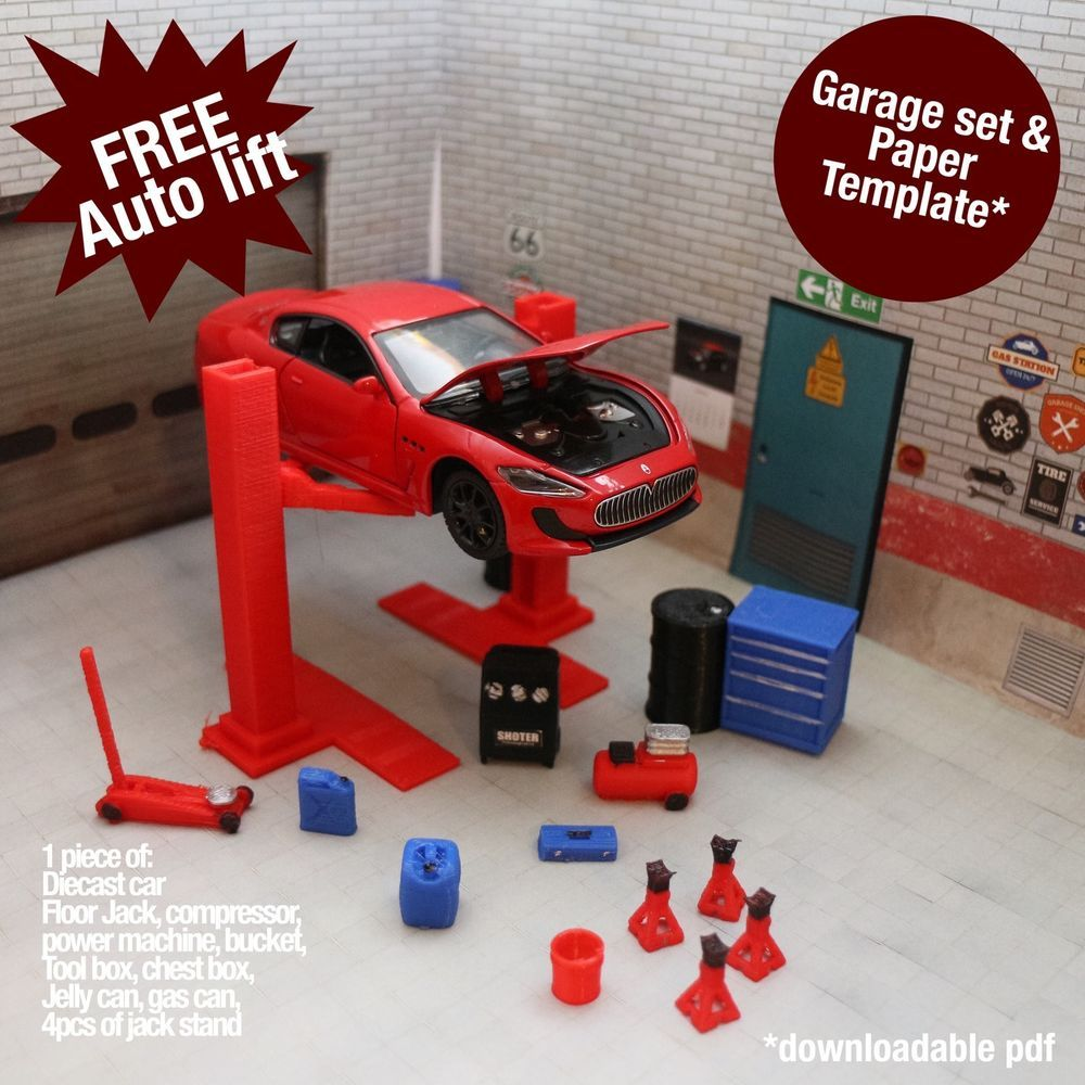 maserati gran turismo diecast model 1 32 diorama garage accessory set auto lift models garage. Black Bedroom Furniture Sets. Home Design Ideas