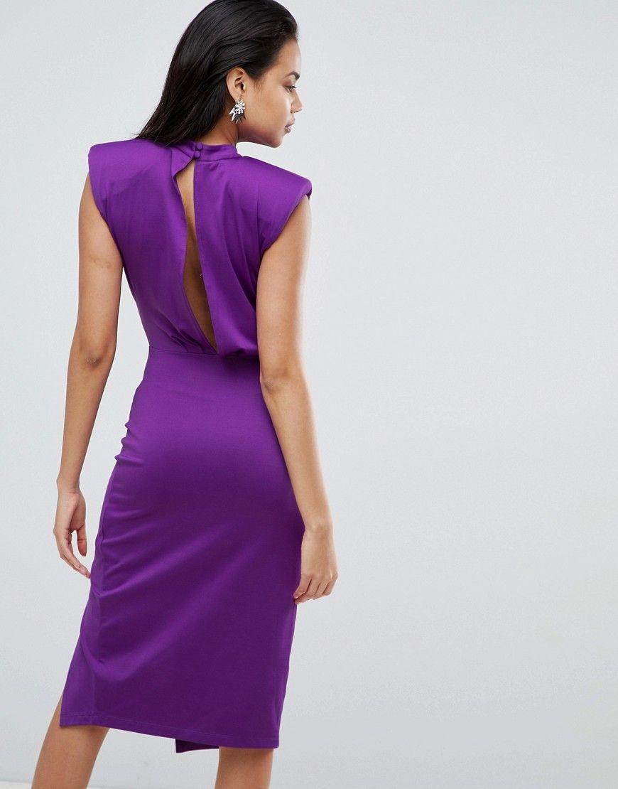 ASOS Slinky Deep Plunge Power Shoulder Wrap Midi Dress - Purple ...