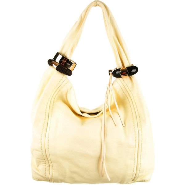 fdbf61b8c0e Pre-owned Jimmy Choo Saba Hobo ($425) ❤ liked on Polyvore featuring bags,  handbags, shoulder bags, yellow, leather hobo purse, beige leather  handbags, ...