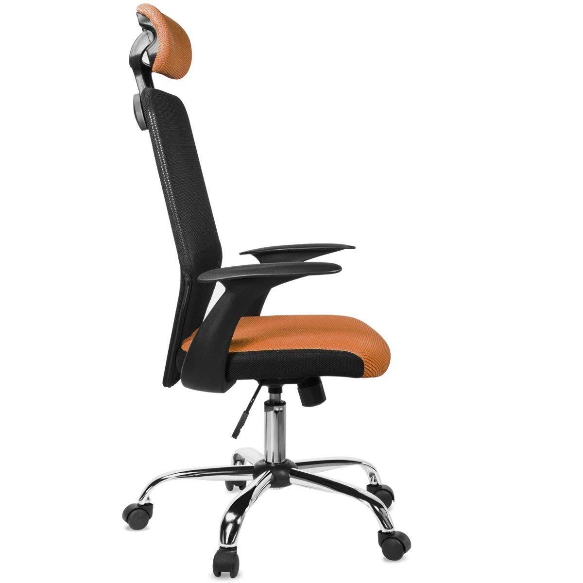 Barton mesh office desk chair w headrest orange chair
