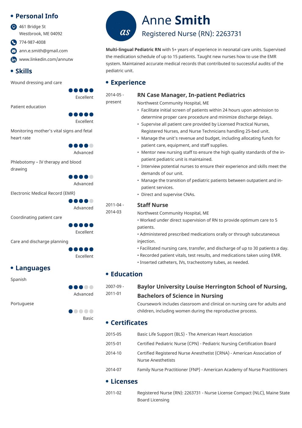 nursing resume template initials in 2020 Nursing resume