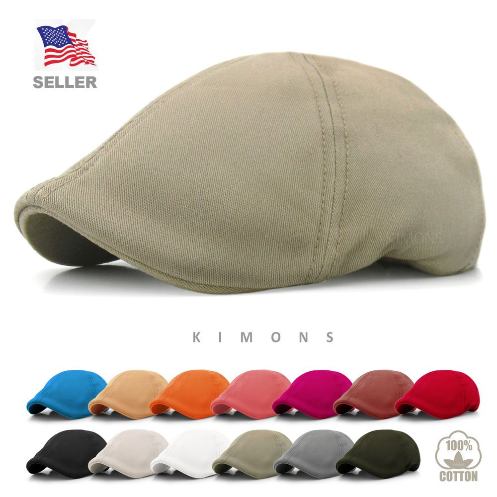 c8dca574944bc Solid Cotton Gatsby Cap Mens Ivy Hat Golf Driving Summer Sun Flat Cabbie  Newsboy  Kimons  NewsboyCabbie