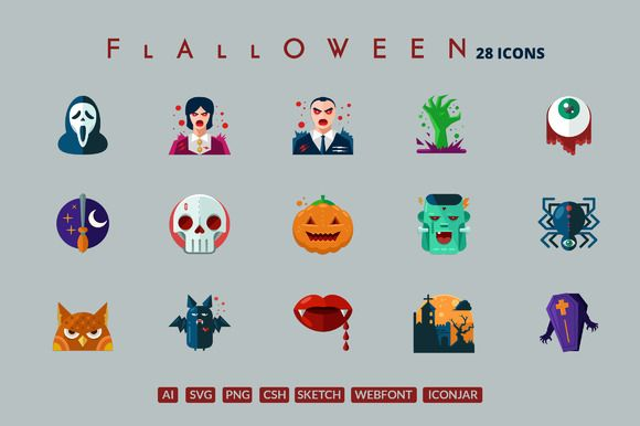29 Flat Detailed Halloween Icons by roundicons.com on Creative Market