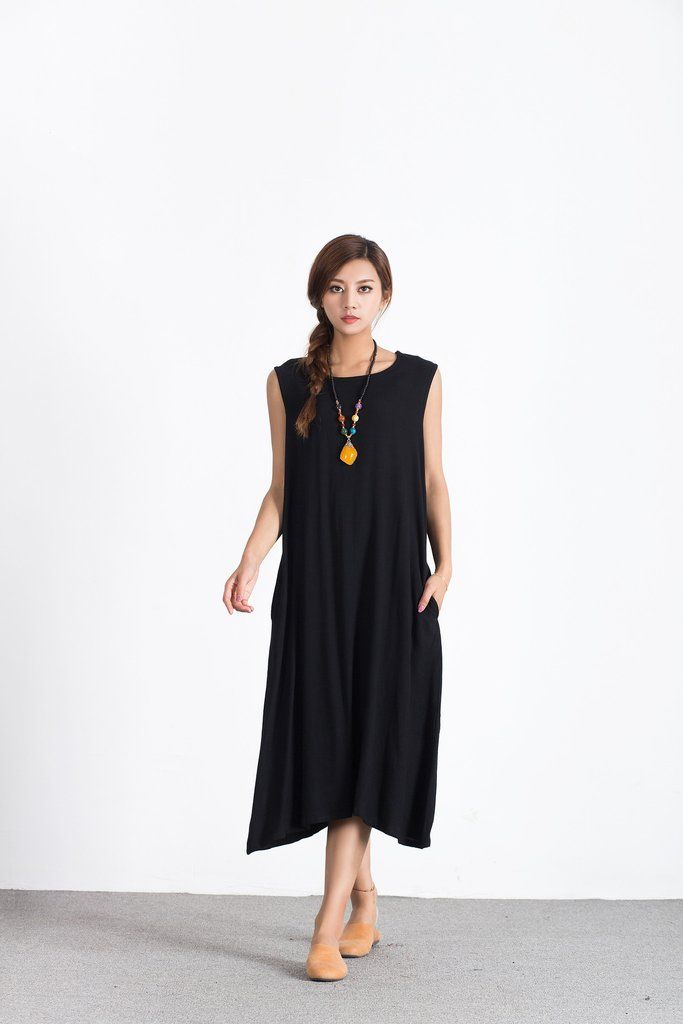 b22a7ab9253c7 Oversize Linen Cotton Casual skirt Black plus size  custom made  dress A65