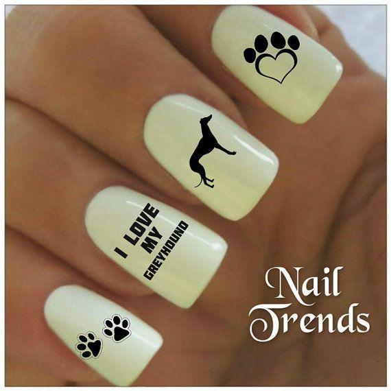 Greyhound Nail Decal 20 Vinyl Adhesive Decals Nail Tattoos Nail Art ...