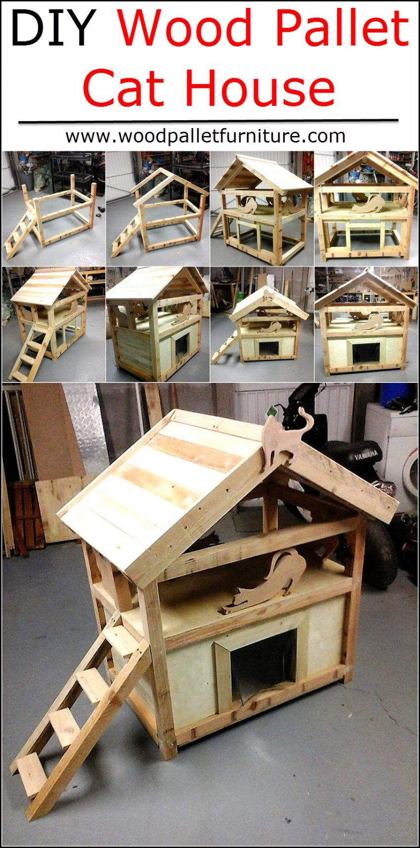 Diy Wood Pallet Cat House Wood Pallet Furniture Cat House Diy Outdoor Cat House Cat House