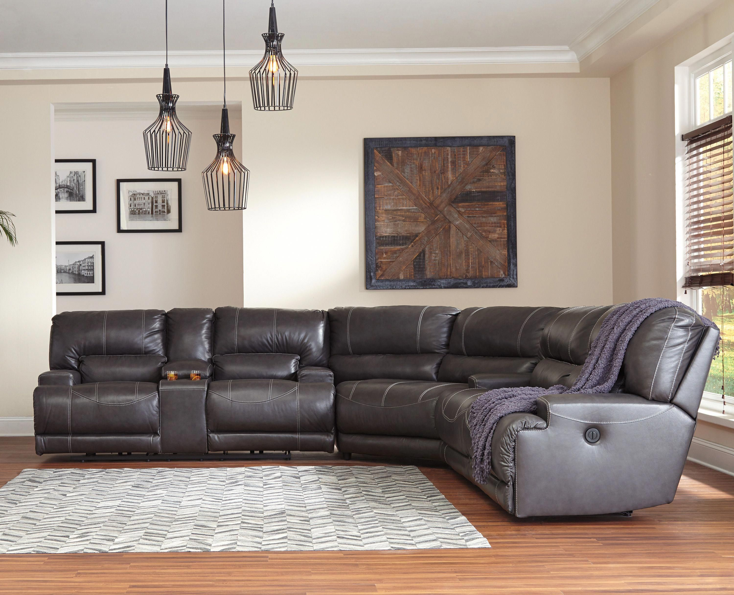 Mccaskill Collection U60900 100 Genuine Leather Sectional With Recliners By Ashley Furniture Furniturefactory