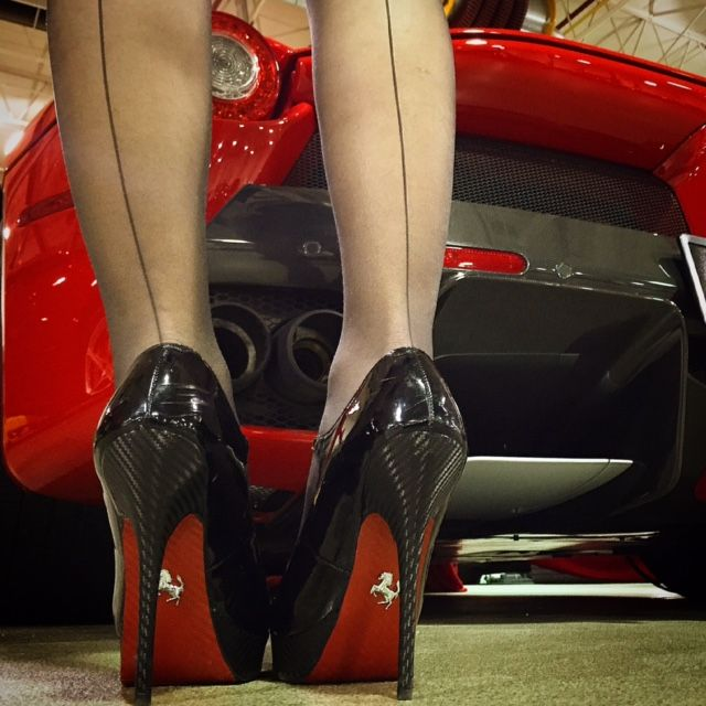 #Ferrari LaFerrari Carbon Fiber Pumps.... even that red sole is carbon fiber - If you like my pins, please follow me and subscribe to my new fashion channel on youtube! It's free! Let me help u find all the things that u love from Pinterest! https://www.youtube.com/channel/UCCP8TXebOqQ_n_ouQfAfuXw