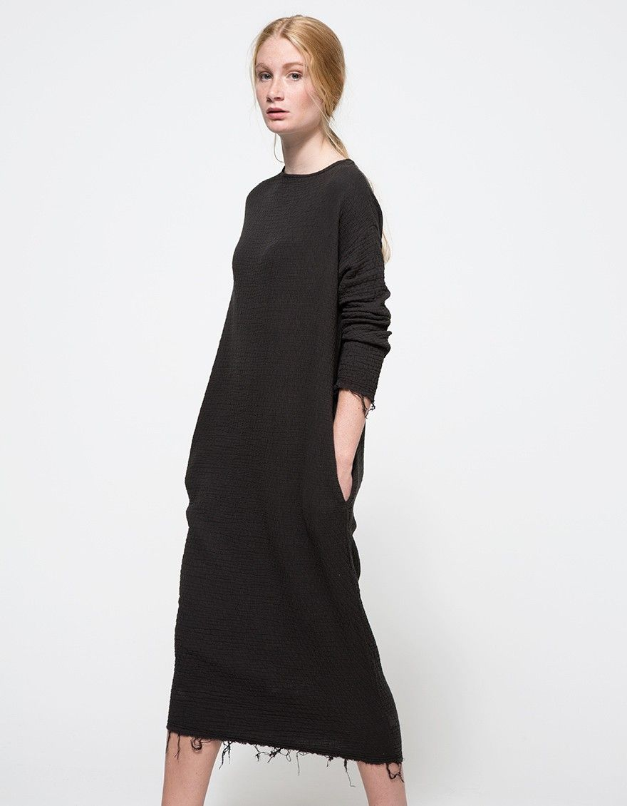 From Black Crane a cozy quilted long dress in dark Forest with