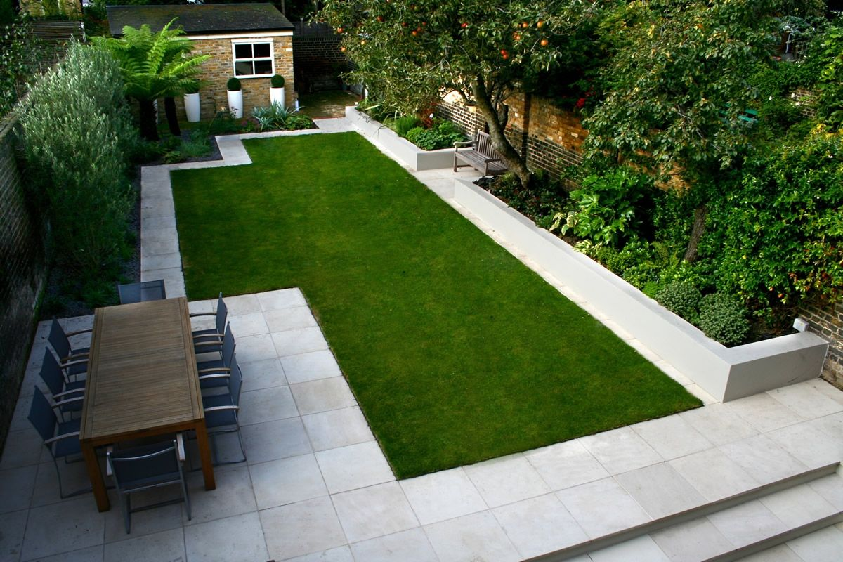 . Contrast paving paths to frame the lawn with raised planting