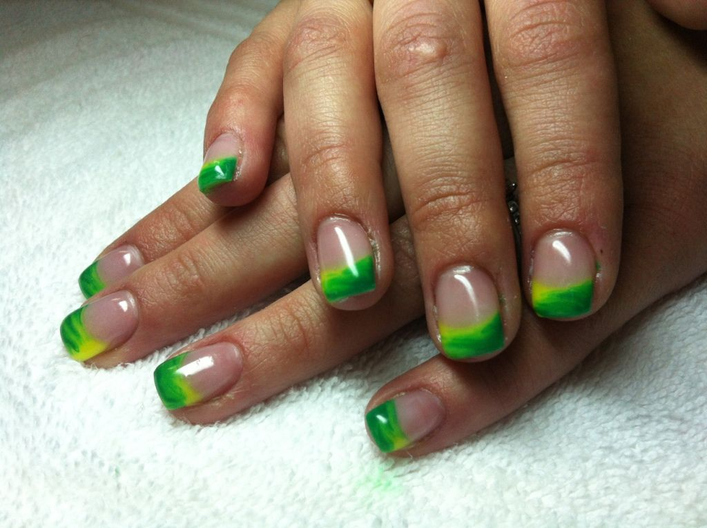 Nail art french tip nail design with lime green color lime green nail art french tip nail design with lime prinsesfo Images