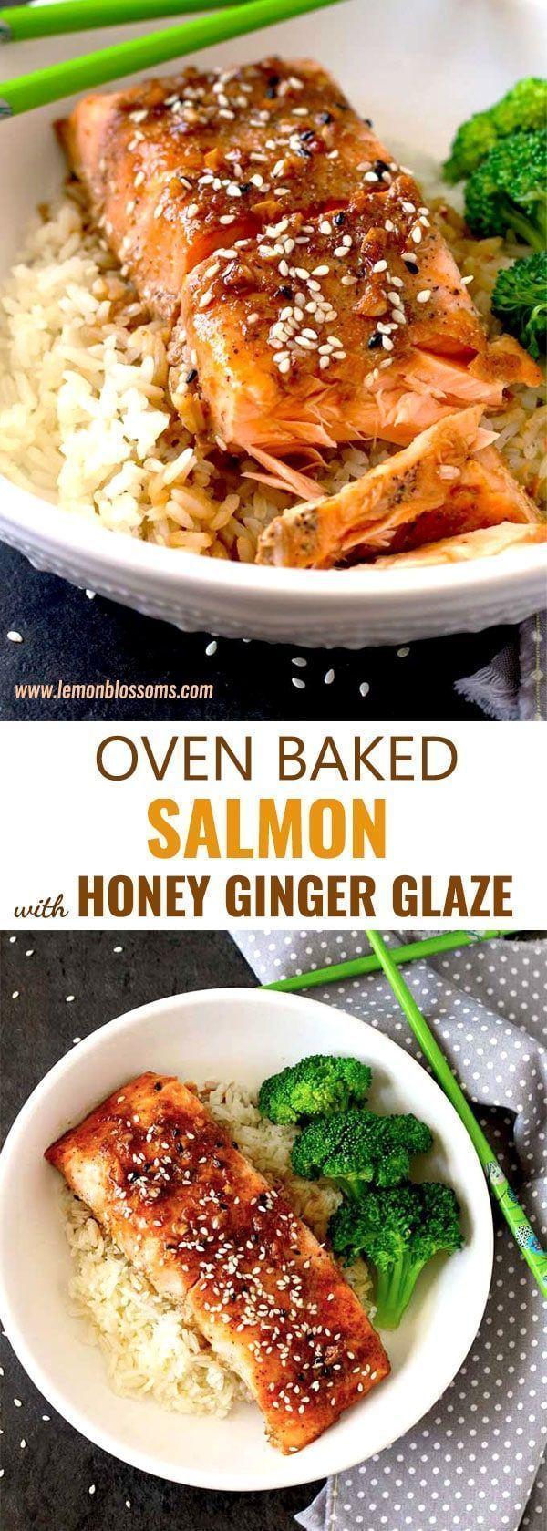 Oven Baked Salmon with Honey Ginger Glaze